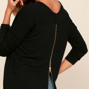 """Lulu's """"Zip To My Lu"""" Black Sweater Top. Small."""